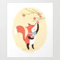 Fox apple picking Art Print