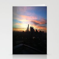 Sunset Skyline Stationery Cards