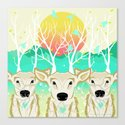 Roots To Grow and Wings To Fly  (Three Deer New Dawn) Canvas Print