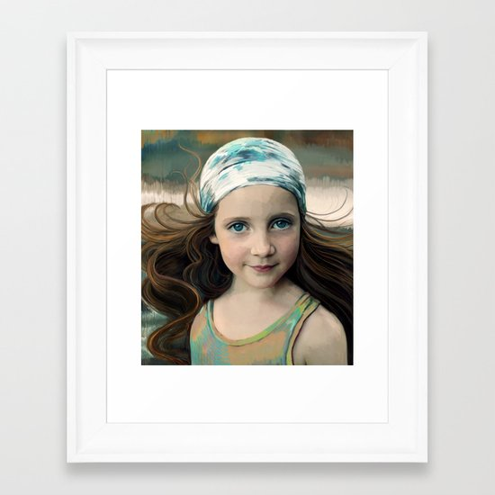 Dancer at Dusk - portrait painting of a young girl Framed Art Print