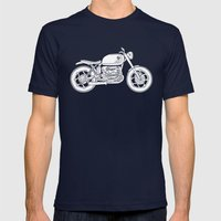 BMW R80 - Cafe Racer series #4 Mens Fitted Tee Navy SMALL