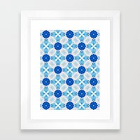 Watercolor Geometry Blue Framed Art Print