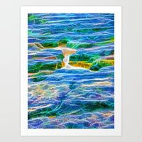 Abstract rock pool in the rough rocks in Queensland Art Print