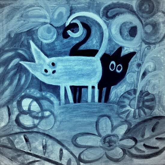 cats in blue  Art Print