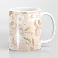Floral curve pattern, rose gold Mug
