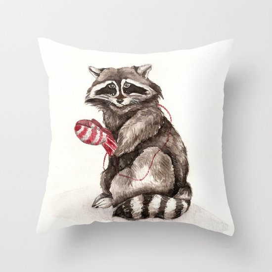 Pensive Raccoon in Red Mittens. Winter Season. Throw Pillow