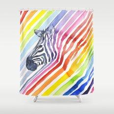 Rainbow Zebra Pattern (square) Shower Curtain