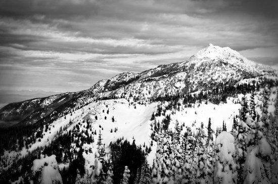 Snowy Mountain Peak Black and White Canvas Print