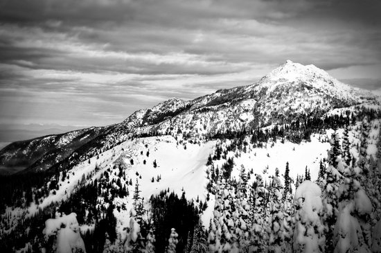 Snowy Mountain Peak Black and White Art Print