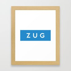 Zug region switzerland country flag name text swiss Framed Art Print