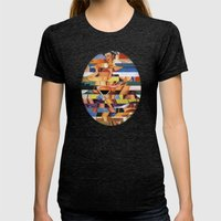 Glitch Pin-Up Redux: Mad… Womens Fitted Tee Tri-Black SMALL