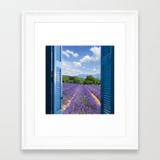 wooden shutters, lavender field Framed Art Print