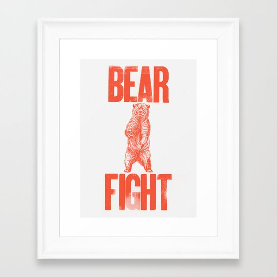Bear Fight Framed Art Print