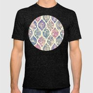 Patterned & Painted Flor… Mens Fitted Tee Tri-Black SMALL