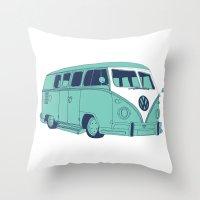 Retro Blues VW Camper Va… Throw Pillow