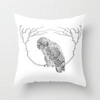 Owl In Tree (Print) Throw Pillow