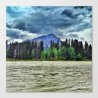 The River And A Mountain… Canvas Print