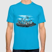 Team Zissou Crossing The… Mens Fitted Tee Teal SMALL