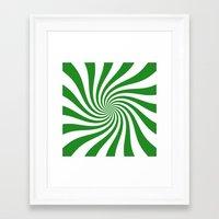 Swirl (Forest Green/White) Framed Art Print