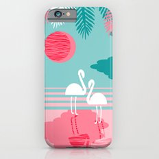 Chill Vibes - memphis retro throwback 1980s 80s neon pop art flamingo paradise socal vacation  iPhone 6 Slim Case