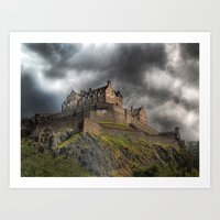 Rain Clouds Over Edinburgh Castle Art Print
