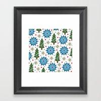 Christmas Trees And Star… Framed Art Print