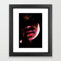 magenta glitch Framed Art Print