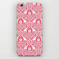 Giraffe Damask Coral iPhone & iPod Skin