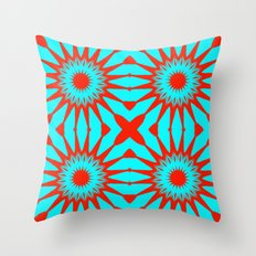 Turquoise & Red Flowers Throw Pillow
