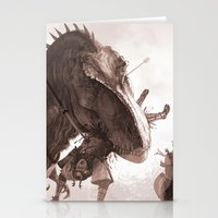 T. rex vs Samurai Stationery Cards