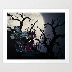 Vintage Halloween Cemetery Cat Art Print