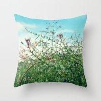 Field Wild Flowers Throw Pillow