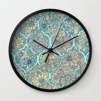 Moroccan Floral Lattice Arrangement - aqua / teal Wall Clock