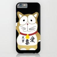 iPhone & iPod Case featuring Maneki Neko gold - Japanese Lucky Cat by WAMTEES