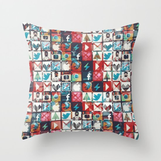 Corrupted pixel loop Throw Pillow