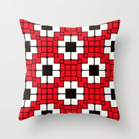 Retro Mosaic Red & Black Throw Pillow