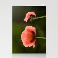 Couple Pink Oriental Poppies Stationery Cards