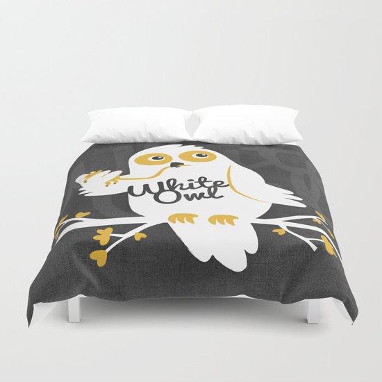 White Owl Duvet Cover