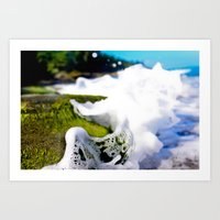 Wave Splash On Mossy Roc… Art Print