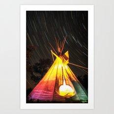 Star Trails Over My Tipi Art Print