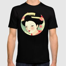 Geisha: Rose Black Mens Fitted Tee SMALL