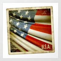 Grunge sticker of United States flag Art Print