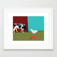 Donald meets a cow Framed Art Print