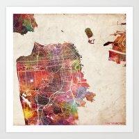 san francisco Art Prints featuring San Francisco by MapMapMaps.Watercolors