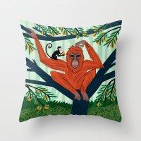 The Orangutan In The Ora… Throw Pillow
