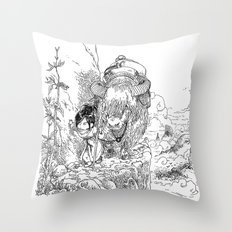 Promenade dans la montagne - Walking in the mountains Throw Pillow