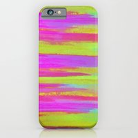DISCO FEVER - Bright Neon Green Pink Funky Dance 70s Retro Stripes Abstract Watercolor Painting iPhone 6 Slim Case