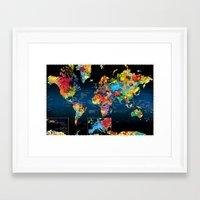 World Map Black Background 2 Framed Art Print