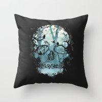 Dark Forest Skull Throw Pillow