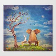 Elephant And Rabbit Sit … Canvas Print